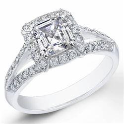 Natural 1.62 CTW Halo Asscher Cut Diamond Ring 18KT White Gold