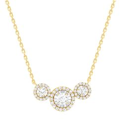 Natural 0.87 CTW Halo Diamond Trio Necklace 14KT Yellow Gold