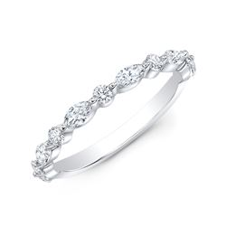 Natural 0.52 CTW Marquise Cut and Round Cut Diamond Ring 18KT White Gold