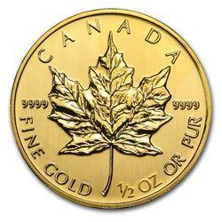 2014 Canada 1/2 oz Gold Maple Leaf BU