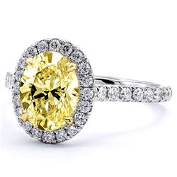 Natural 2.12 CTW Halo Canary yellow Oval Cut Diamond Ring 18KT White Gold