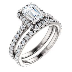 Natural 2.02 CTW Halo Emerald Cut Diamond Engagement Set 14KT White Gold
