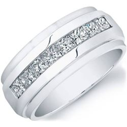 Natural 1.02 CTW Men's Princess Cut Diamond Ring 18KT White Gold
