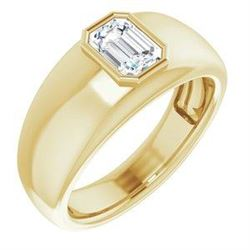 Natural 0.52 CTW Bezel Set Emerald Cut Men's Diamond Ring 14KT Yellow Gold