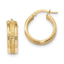 14k Solid Gold Polished & Satin Hoop Earrings (22.43 mm)