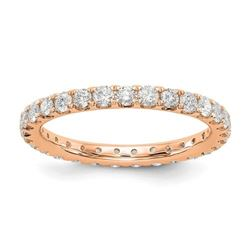 Natural 1.27 CTW Round Brilliant Diamond Eternity Band Wedding Ring 14KT Rose Gold