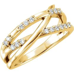 Natural 0.19 CTW Diamond Criss Cross Ring 18KT Yellow Gold