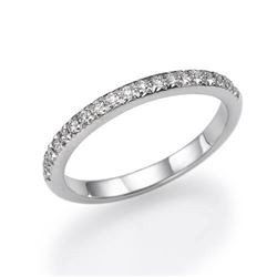 Natural 0.62 CTW Micro Pave Diamond Wedding Band 18KT White Gold