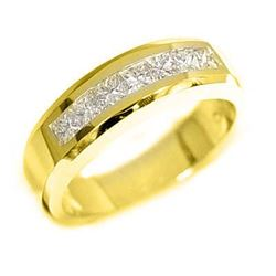 Natural 1.42 CTW Princess Cut Diamond Wedding Ring 14KT Yellow Gold