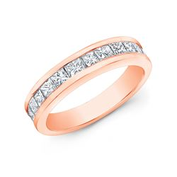 Natural 1.52 CTW Princess Cut Diamond Wedding Band Anniversary Rings 14KT Rose Gold