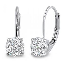Natural 0.82 CTW Lever Back Round Cut Diamond Earrings 14KT White Gold