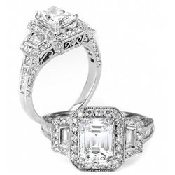 Natural 2.22 CTW Halo Emerald Cut Diamond Ring 18KT White Gold