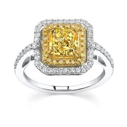 Natural 2.12 CTW Canary Yellow Radiant Cut Diamond Ring 18KT Two-tone