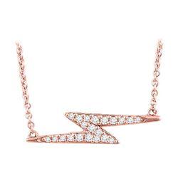 Natural 0.15 CTW Lightning Bolt Diamond Necklace 18KT Rose Gold
