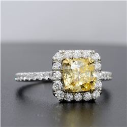 Natural 1.92 CTW Halo Radiant Cut Canary Yellow Diamond Ring 14KT White Gold