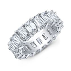 Natural 5.02 CTW Emerald Cut Diamond Eternity Ring 18KT White Gold