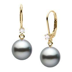 Black Tahitian Pearl and Diamond Leverback Dangle Earrings