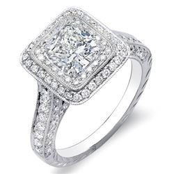 Natural 2.47 CTW Cushion Cut w/ Round Cut Double Halo Diamond Engagement Ring 18KT White Gold