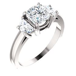 Natural 1.72 CTW 3-Stone Cushion Cut & Half moons Diamond Ring 18KT White Gold