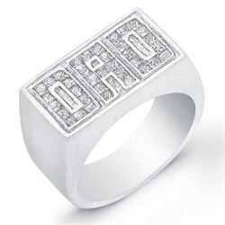Natural 1.02 CTW Princess Cut DAD Men's Diamond Ring 18KT White Gold