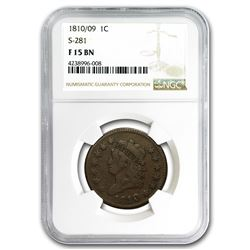 1810/09 Large Cent Fine-15 NGC