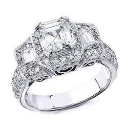 Natural 2.52 CTW Halo 3-Stone Asscher Cut Diamond Ring 14KT White Gold