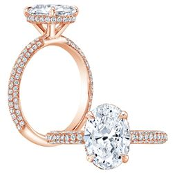 Natural 1.87 CTW Under-Halo Oval Cut Pave Diamond Engagement Ring 18KT Rose Gold
