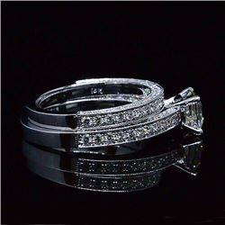 Natural 2.77 CTW Asscher Cut Diamond Engagement Ring 14KT White Gold