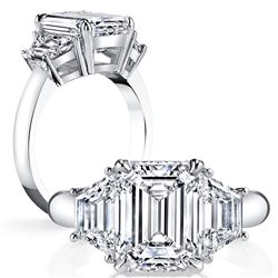 Natural 1.52 CTW Emerald Cut & Trapezoid 3-Stone Diamond Ring 18KT White Gold