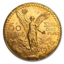 1945 Mexico Gold 50 Pesos BU