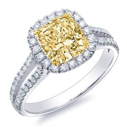 Natural 2.27 CTW Canary Yellow Cushion Cut Halo Diamond Ring 18KT Two-tone