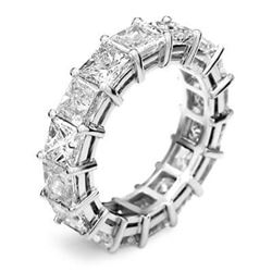 Natural 6.52 CTW Princess Cut Diamond Eternity Ring 18KT White Gold