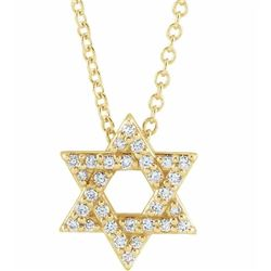 Natural 0.15 CTW Star of David Diamond Necklace 14KT Yellow Gold