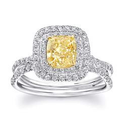 Natural 2.37 CTW Double Halo Canary Yellow Cushion Cut Diamond Ring 18KT Two-tone