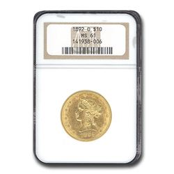 1892-O $10 Liberty Gold Eagle MS-61 NGC
