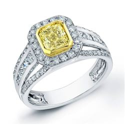 Natural 1.92 CTW Halo Canary Yellow Radiant Cut Diamond Ring 14KT White Gold