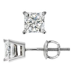 Natural 1.42 CTW Princess Cut Diamond Stud Earrings 14KT White Gold