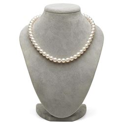 White Hanadama Japanese Akoya Pearl Necklace, 8.0-8.5mm