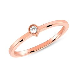 Natural 0.05 CTW Bezel Diamond Tear Drop Ring 14KT Rose Gold