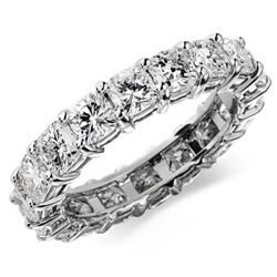Natural 4.02 CTW Cushion Cut Diamond Eternity Ring 14KT White Gold