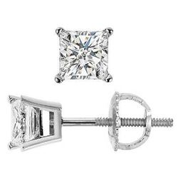 Natural 1.02 CTW Princess Cut Diamond Stud Earrings 18KT White Gold