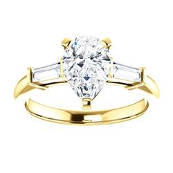 Natural 1.82 CTW Pear Cut & Baguette Cut 3-Stone Diamond Ring 18KT Yellow Gold