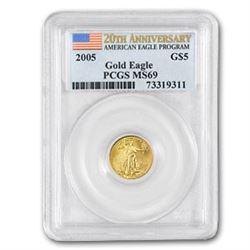 2005 1/10 oz Gold American Eagle MS-69 PCGS (20th Anniv)