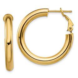 14k Polished Round Hoop Earrings - 4x20 mm