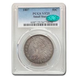 1807 Capped Bust Half Dollar VF-25 PCGS CAC (Small Stars)