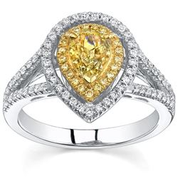 Natural 2.22 CTW Canary Yellow Pear Cut Double Halo Diamond Engagement Ring 18KT Two-tone