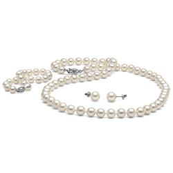 White Freshwater Pearl 3-Piece Jewelry Set, 7.5-8.0mm