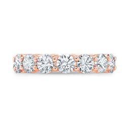 Natural 4.02 CTW Round Brilliant Diamond Eternity Band Wedding Ring 18KT Rose Gold