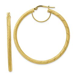 10k Yellow Gold Twisted Round Omega Back Hoop Earrings - 3x40 mm
