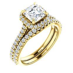 Natural 1.82 CTW Halo Asscher Cut Diamond Bridal Set 18KT Yellow Gold